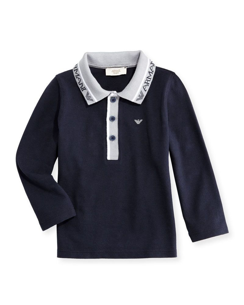 544b1cad Armani Junior Long-Sleeve Stretch Pique Polo Shirt, Navy (36 months boys) # ARMANI #Polo