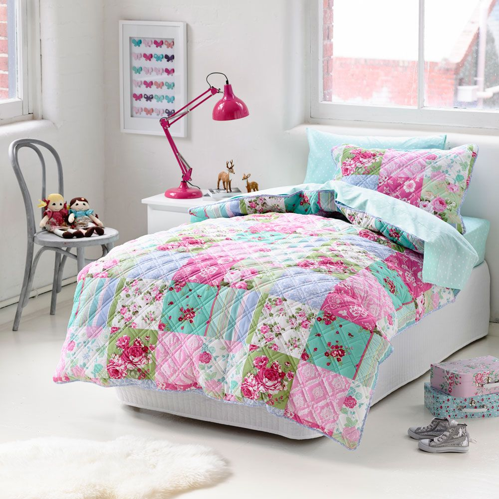 Adairs Kids Girls Monsoon Quilted - Bedroom Quilt Covers ... : quilted covers - Adamdwight.com
