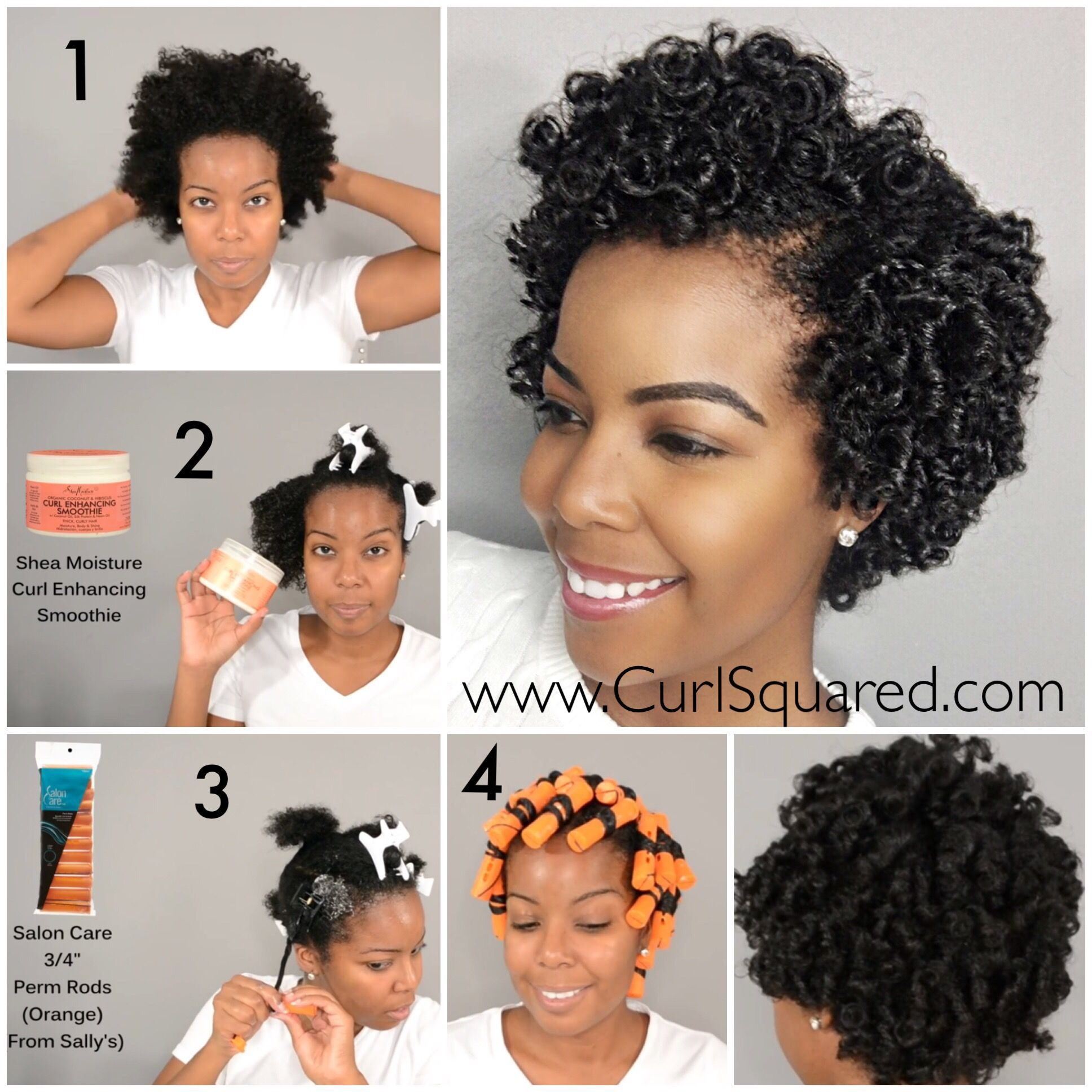 defined perm rod set on short curly natural hair style