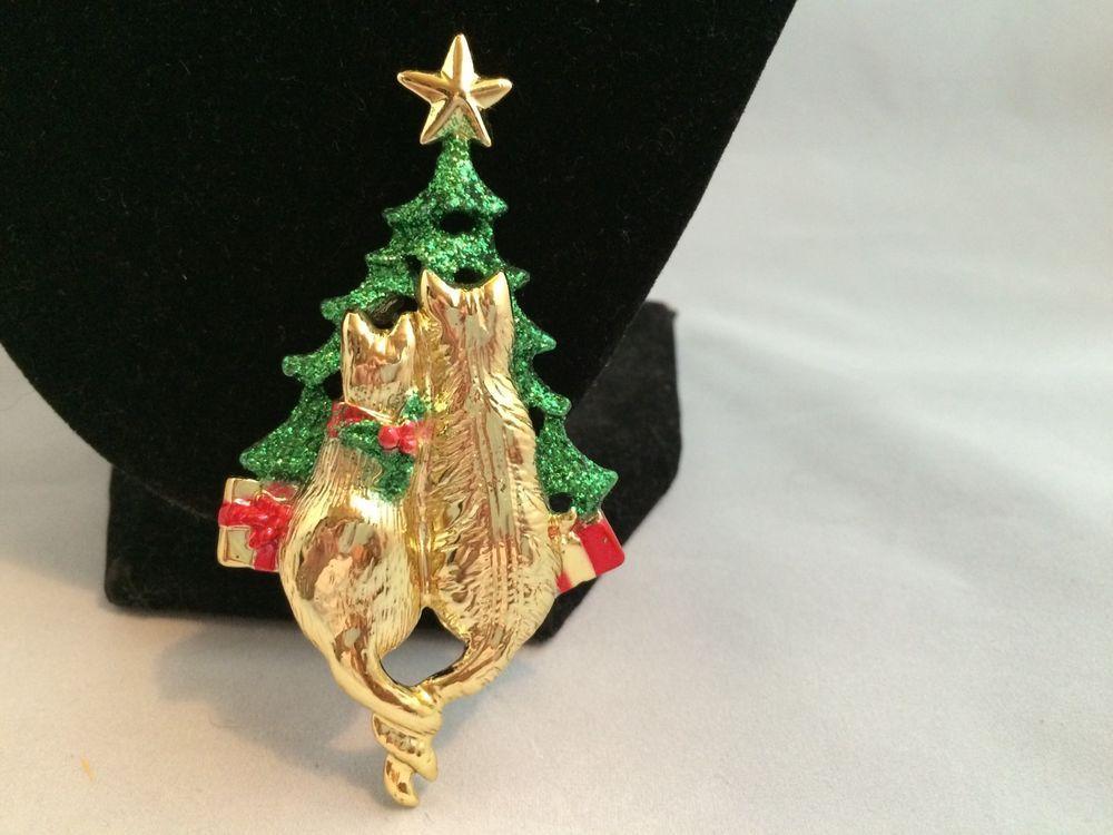 Vtg AJC Green Red Enamel Kitty Cat Couple Christmas Tree Brooch | eBay