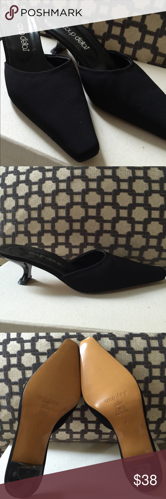New Coup Détat Black Fabric and Leather Mules. New Coup Détat Black Classic and Elegant Fabric Mules.  Leather soles, made in Spain.  Size 7 1/2B.  New never worn, perfect condition . Coup Dé Tat Shoes Mules & Clogs