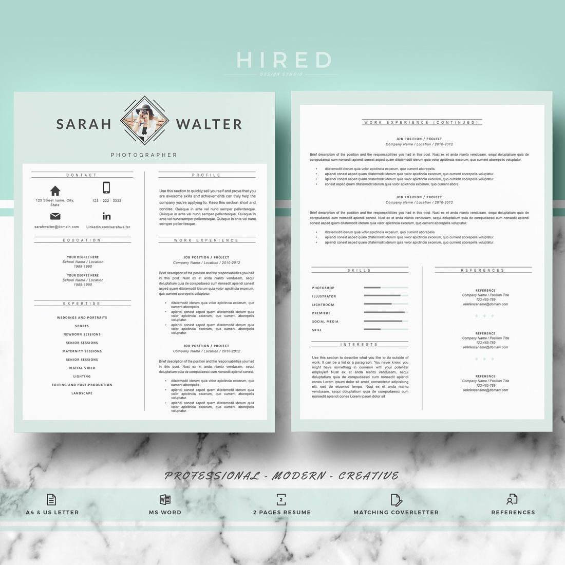 Resume Template | CV Templates for Word & Pages; Professional cv + ...