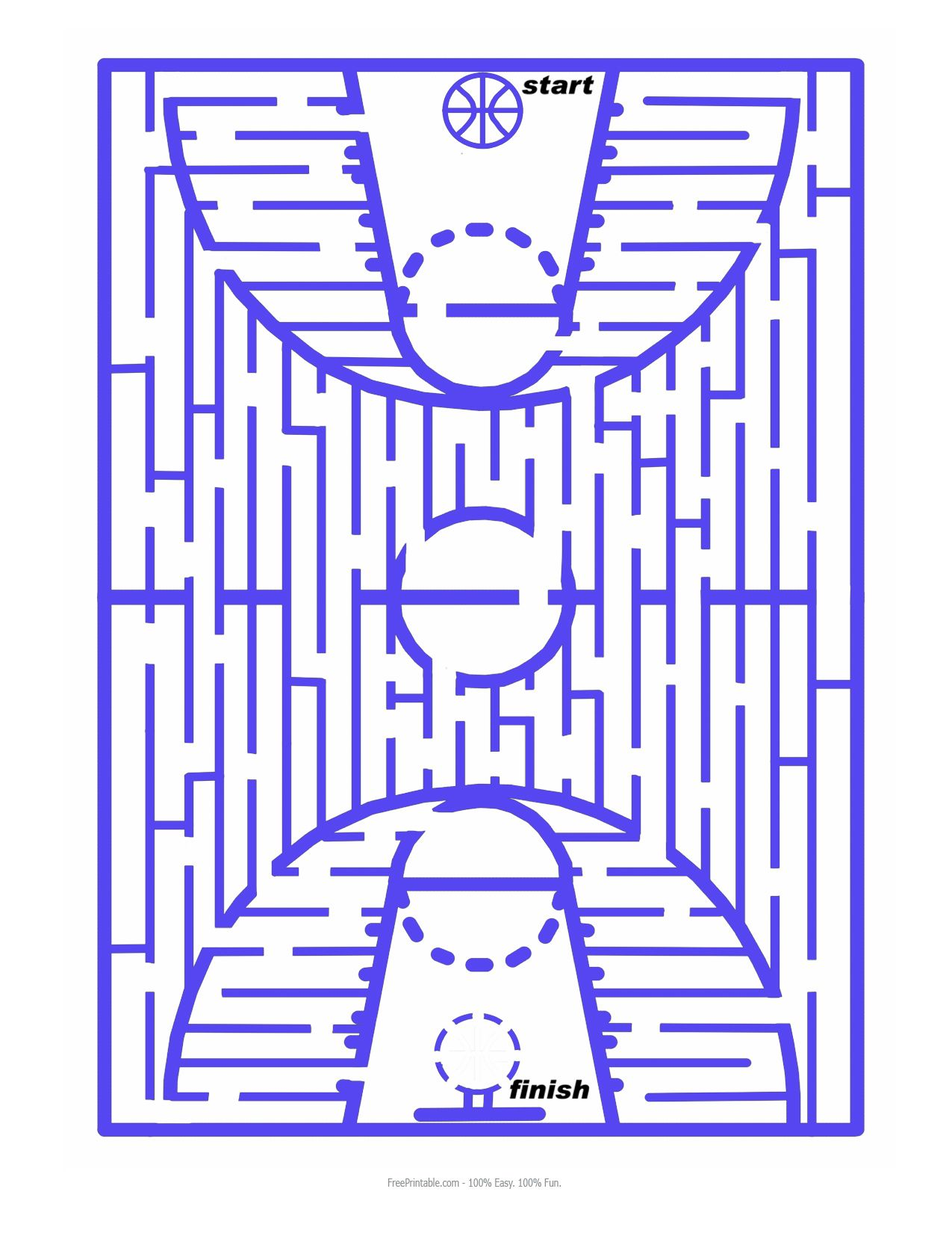 Mazes For Image Basketball Maze Printable Pictures
