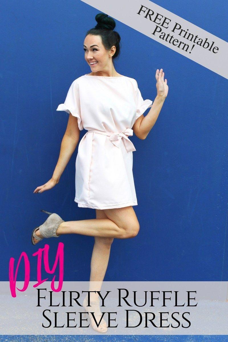FREE Printable Ruffle Sleeve Shift Dress Pattern - Creative Fashion Blog -   14 dress DIY free printable ideas