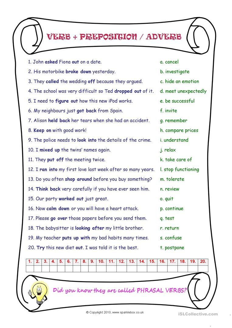Phrasal Verbs With Images Verb Verb Worksheets English