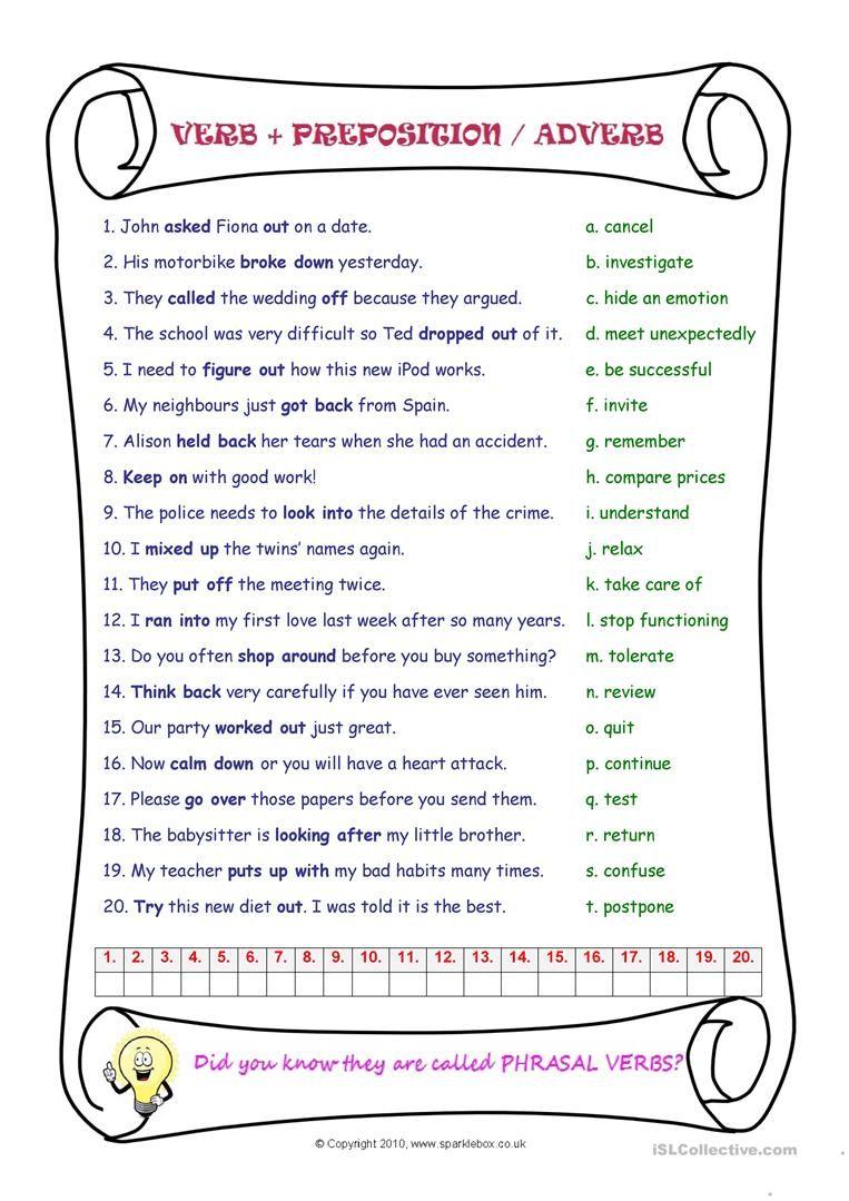 Phrasal verbs worksheet - Free ESL printable worksheets made by teachers    Verb [ 1079 x 763 Pixel ]