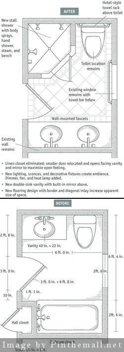 Before After Small 6 X 9 Bathroom By Moving One Interior Wall About A Foot And Shifting Fixtures Arou Bathroom Floor Plans Bathroom Layout Bathtub Remodel