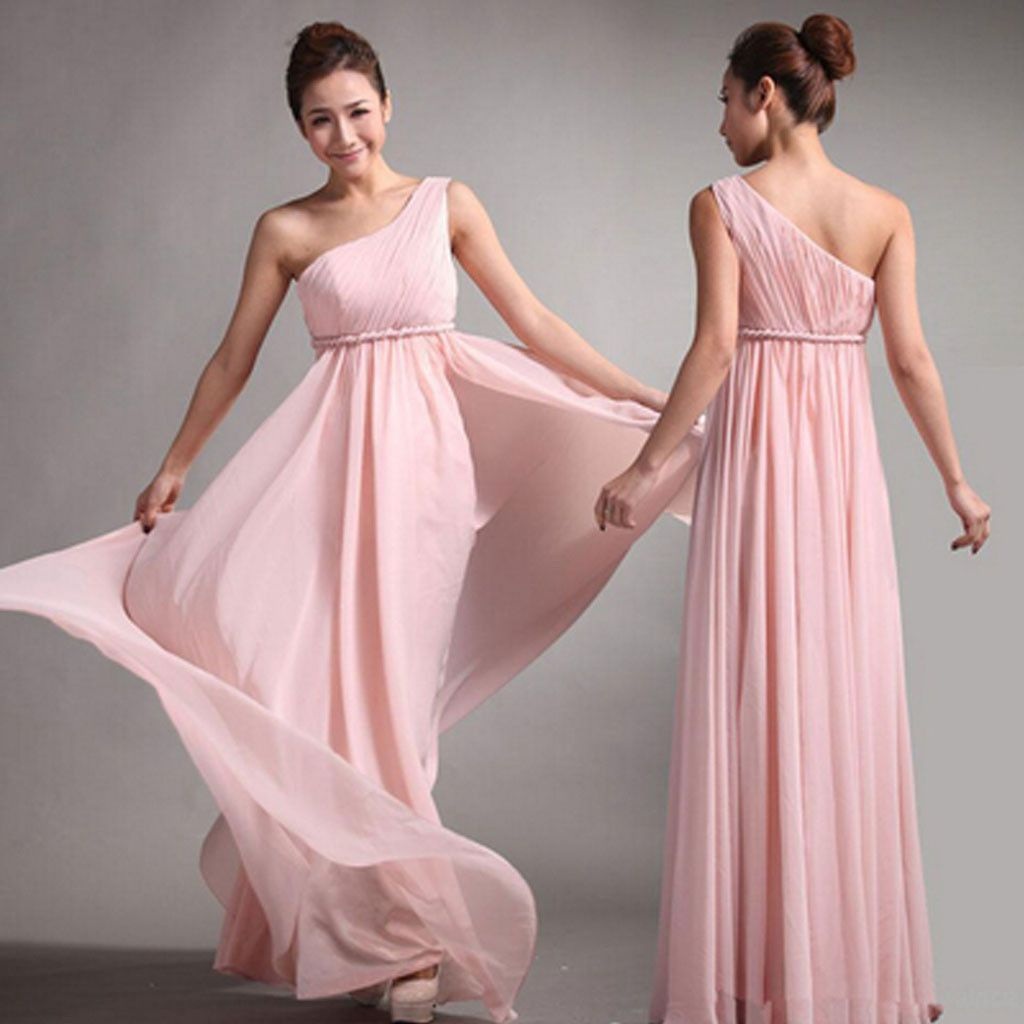 One shoulder pink chiffon simple cheap long pleating wedding party