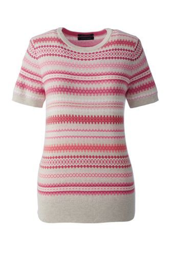 31efd1c58d Women s+Supima+Short+Sleeve+Jacquard+Sweater+from+Lands +End ...