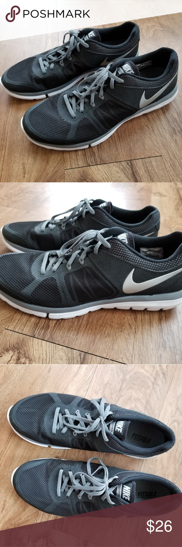 0f1d8b5bd303b MEN S NIKE FLEX 2014 RUN TENNIS SHOES Only worn a couple times. Like new  condition. Men s size 13. Black and silver with mesh design. Very  comfortable!