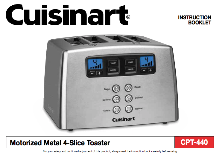 Touch To Toast Leverless 4 Slice Toaster Cpt 440 Product Manual Cooking Timer Cuisinart Cpt