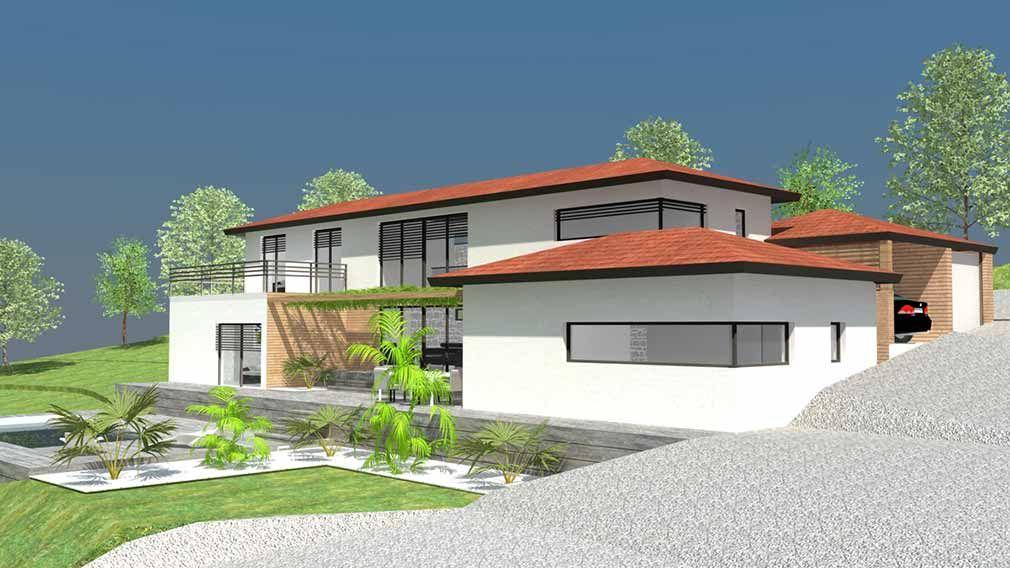 Maison design du0027architecte à demi-niveaux sur terrain en pente