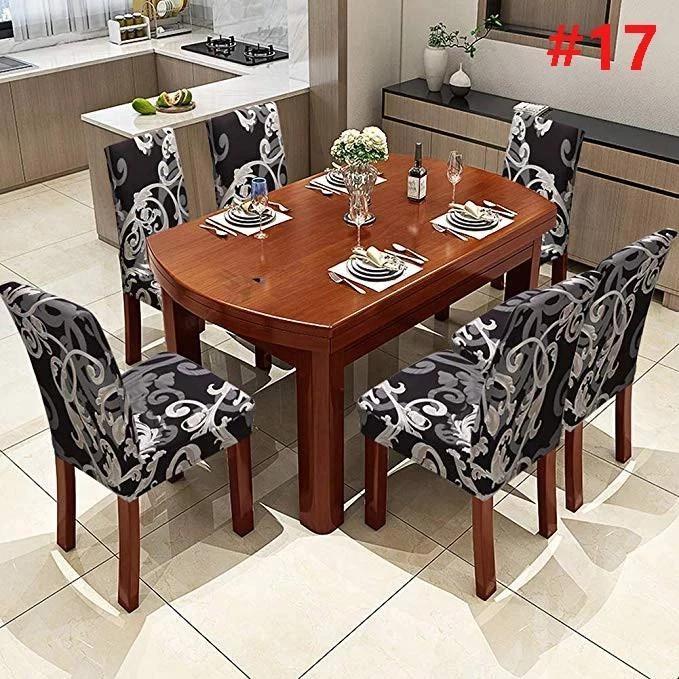 Velvet Chair Cover Elastic Universal Slipcover Seat Protector for Dining Room UK