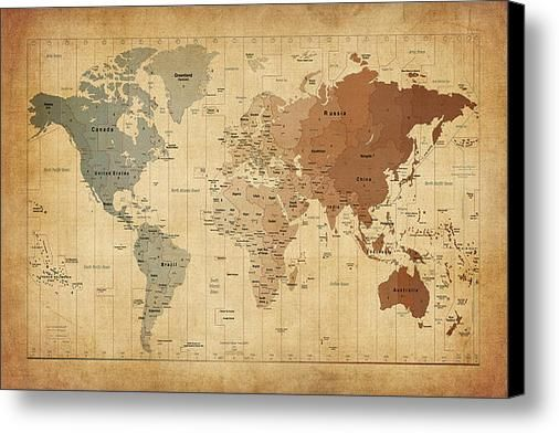 Time Zones Map Of The World Canvas Print / Canvas Art By Michael ...