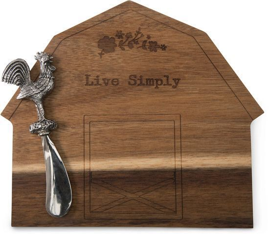 Live Simply - Acacia Cheese Board with Rooster Spreader