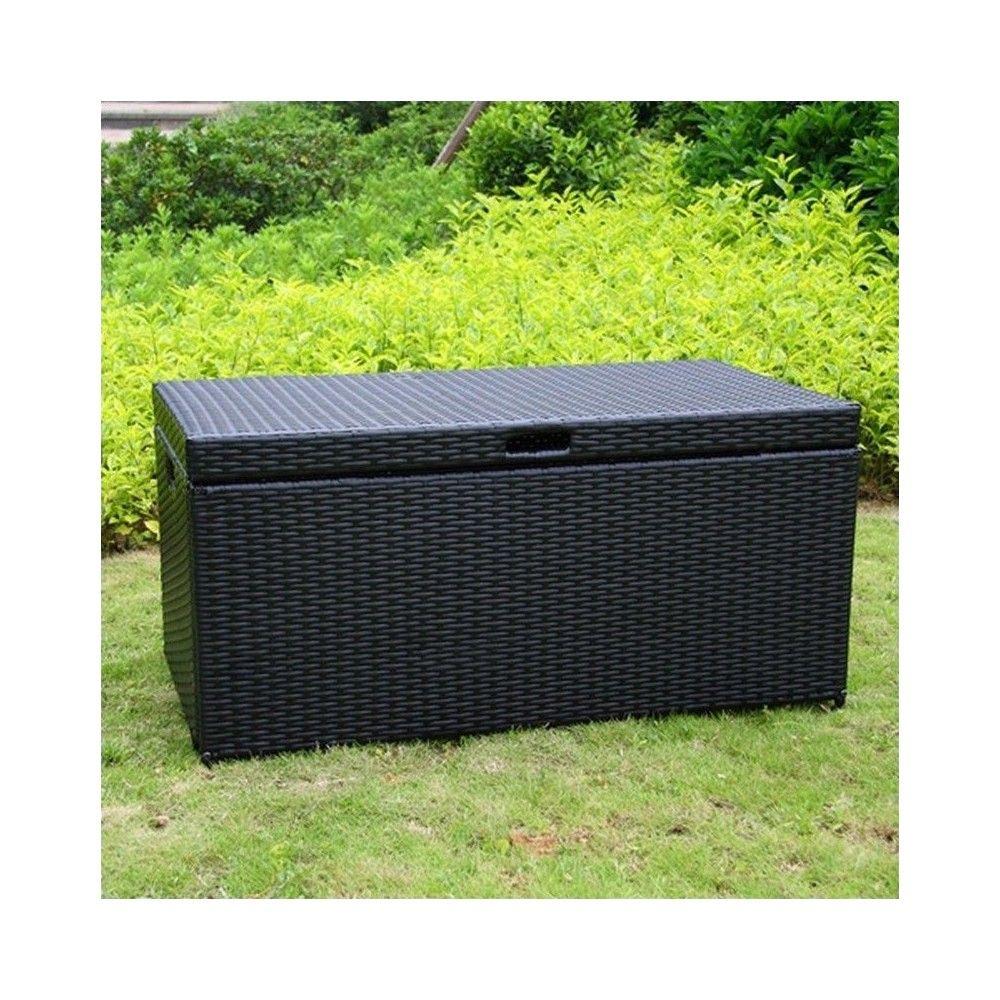 Wicker Patio Storage Deck Box In Black Jeco Inc Outdoor