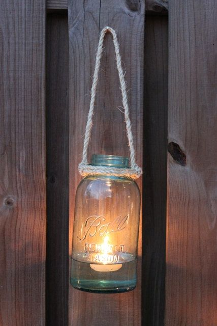 Vintage+Half+Gallon+Aqua+Ball+Jar+Outdoor+Hanging+by+BeautyofForm,+$25.00