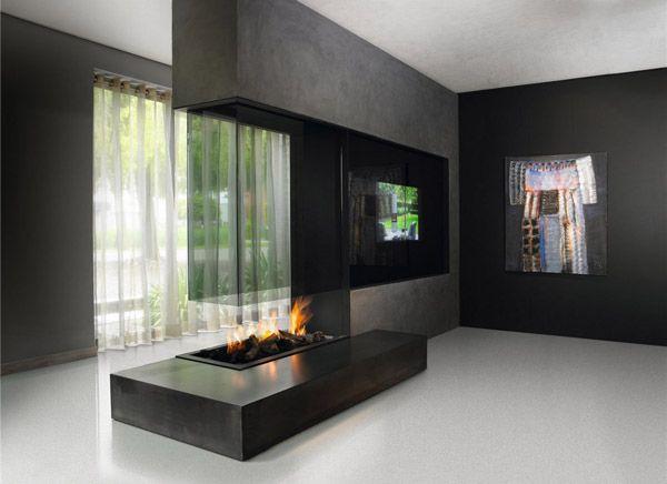 Modern glass fireplace Διακόσμηση σπιτιού Pinterest Chimeneas - chimeneas modernas