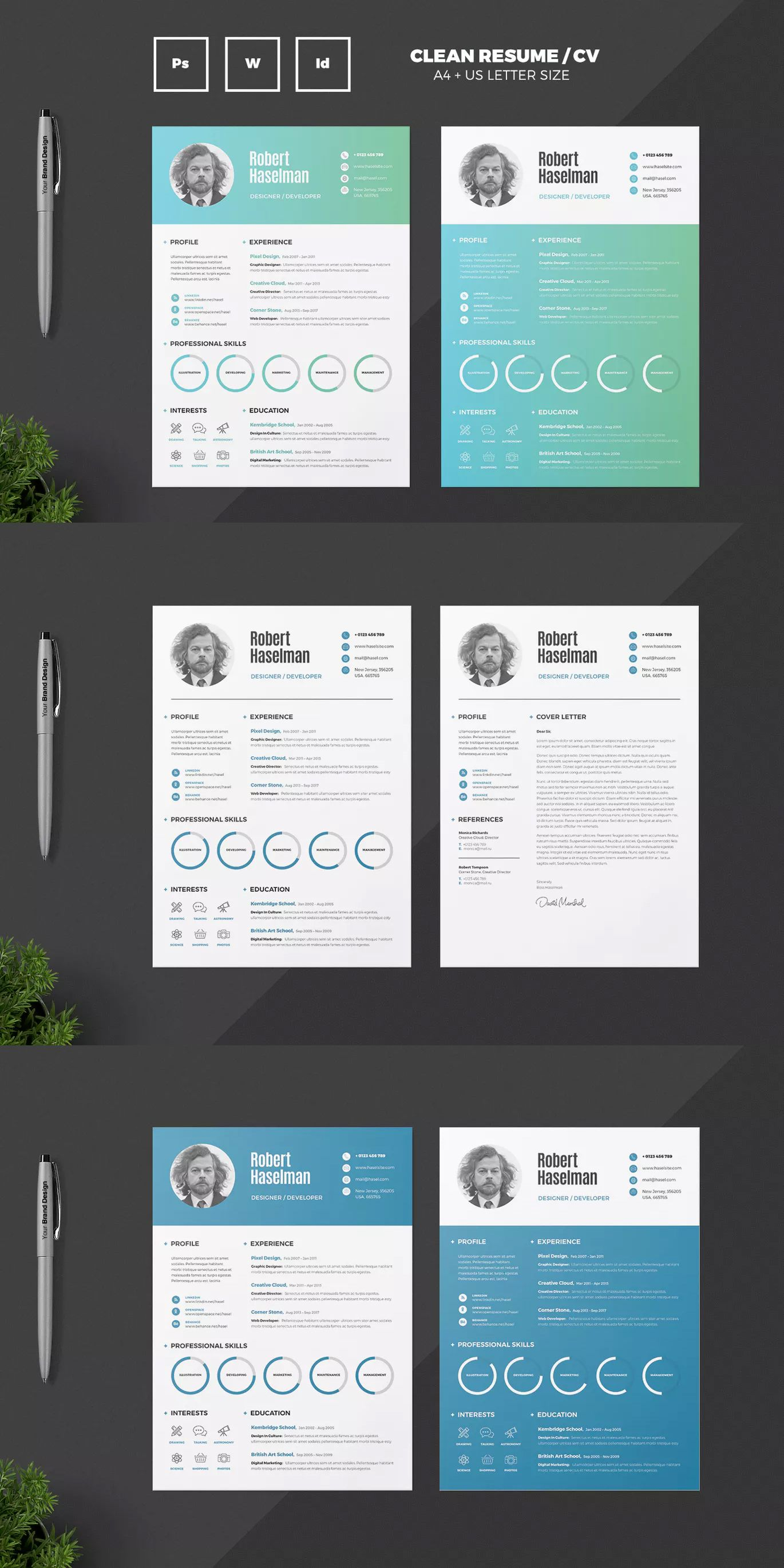 Resume Template INDD, PSD, MS Word - A4 and US Letter Size | Resume ...