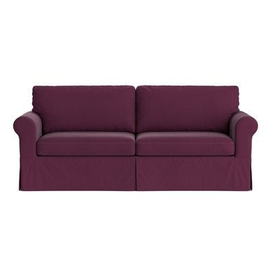 Three Posts Greenside Replacement Sofa Slipcover Upholstery Eggplant Purple Velvet Skirted Yes