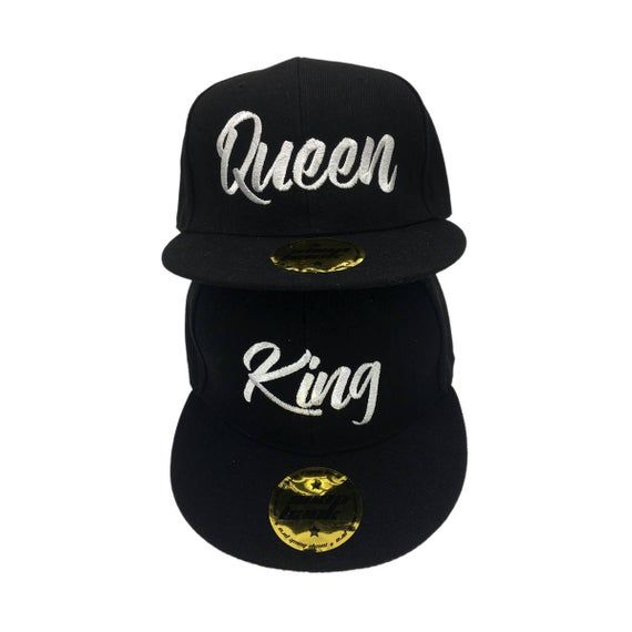 KING QUEEN hats baseball snapback quality custom Summer caps, hats for couples, lovers and friends. Both embroidered caps in silver #queenshats