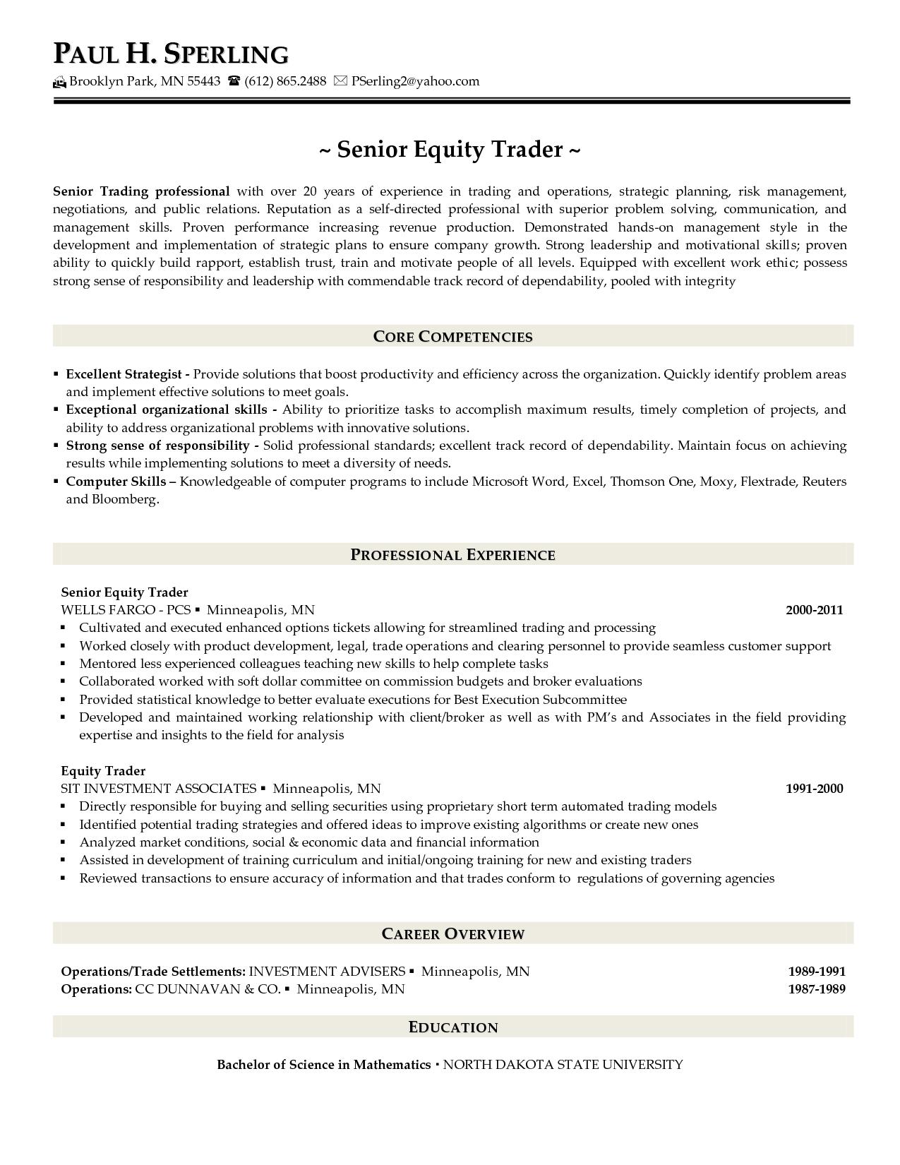 Proprietary Trading Resume Samplecareer Resume Template Career Resume Template Proprietary Trading Management Skills Resume
