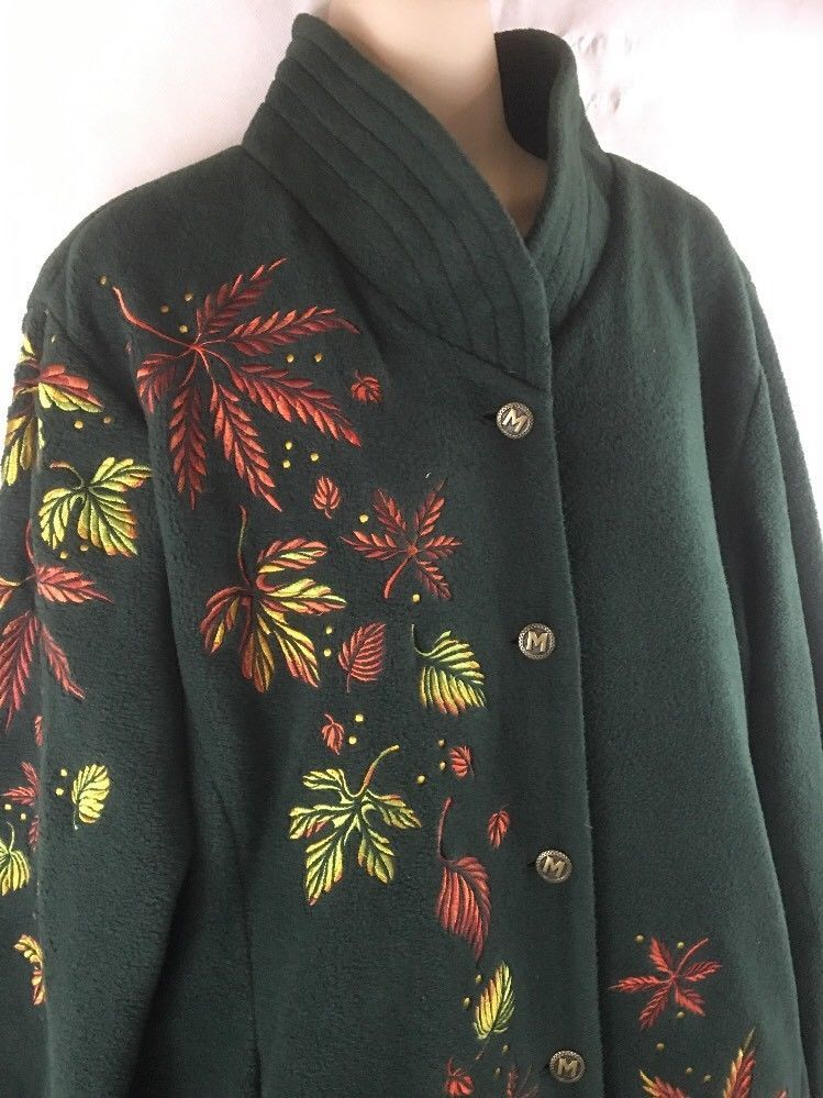 Bob mackie wearable art embroidered fall leaves lined