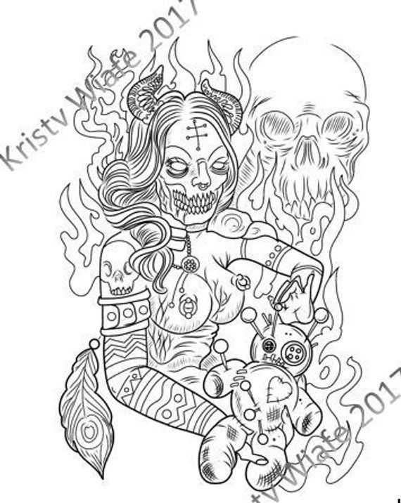 SINGLE PDF COLORING Page - Demon with Voodoo Doll ...
