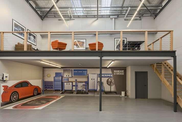 Garage Avec Mezzanine Recherche Google In 2020 Garage Workshop Garage House Warehouse Living