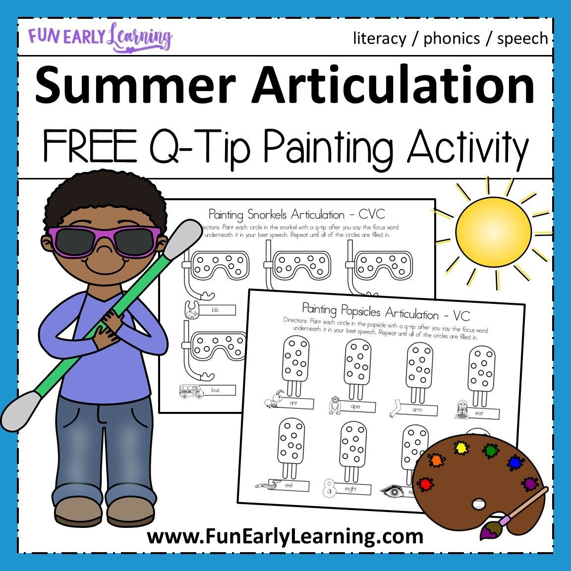 Summer Articulation Q Tip Painting