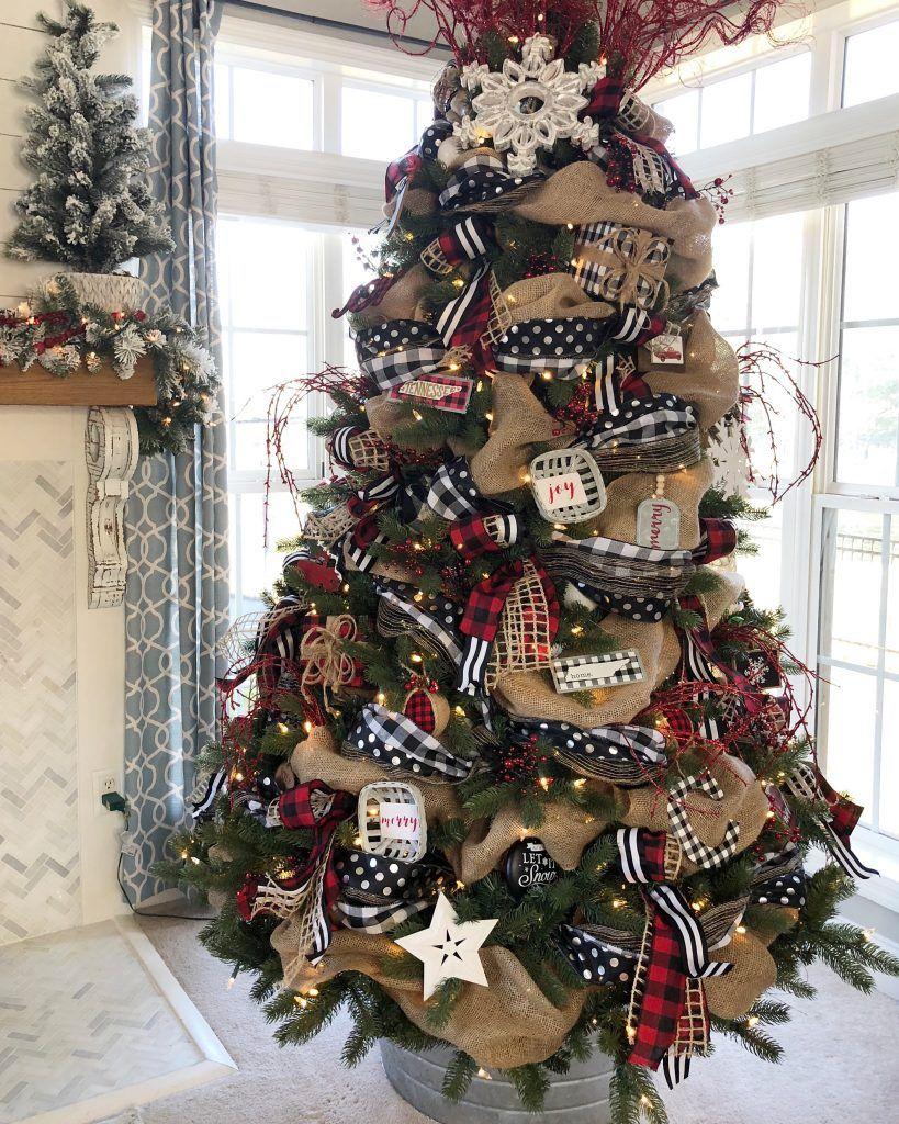 Buffalo Check Christmas Tree with ribbon 2018 Ribbon on