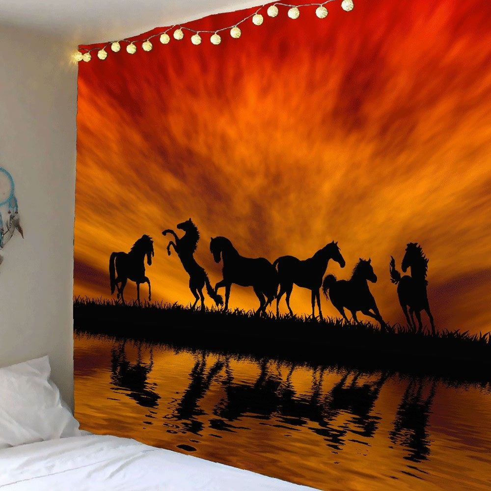 sunset glow horses patterned wall art tapestry tapestry on walls coveralls website id=82264