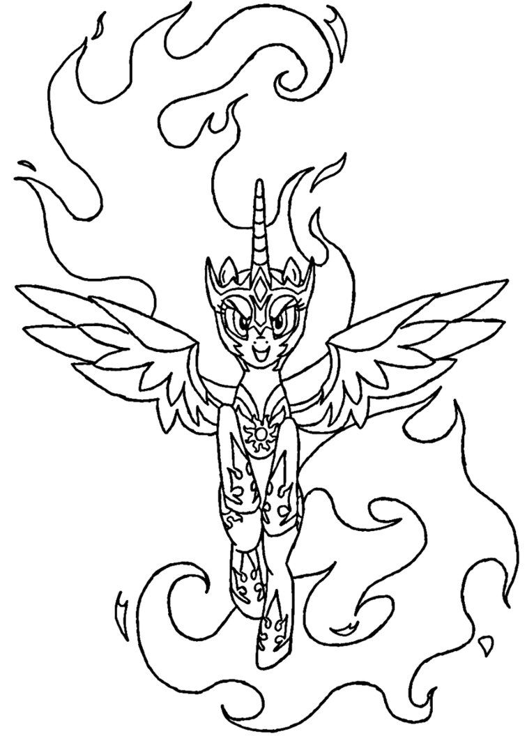Daybreaker Coloring Page Line Art Celestia MLP By Sanoracedeviantart On DeviantArt
