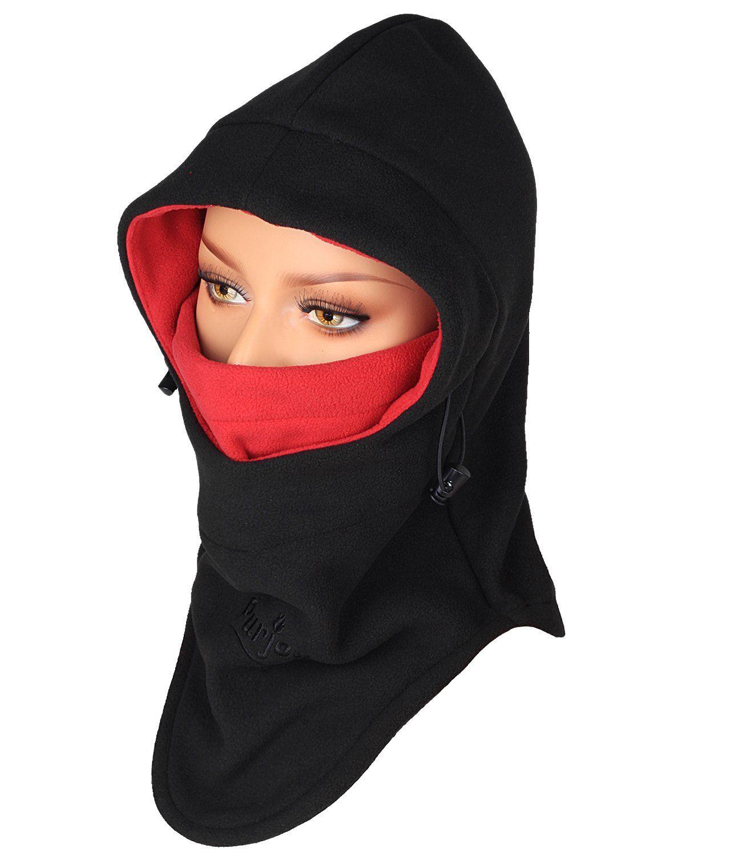 602ec64f678ef Purjoy Warm Thickening Fleece Balaclava Full Face Mask Hats Neck  Warmer(Black+Red)