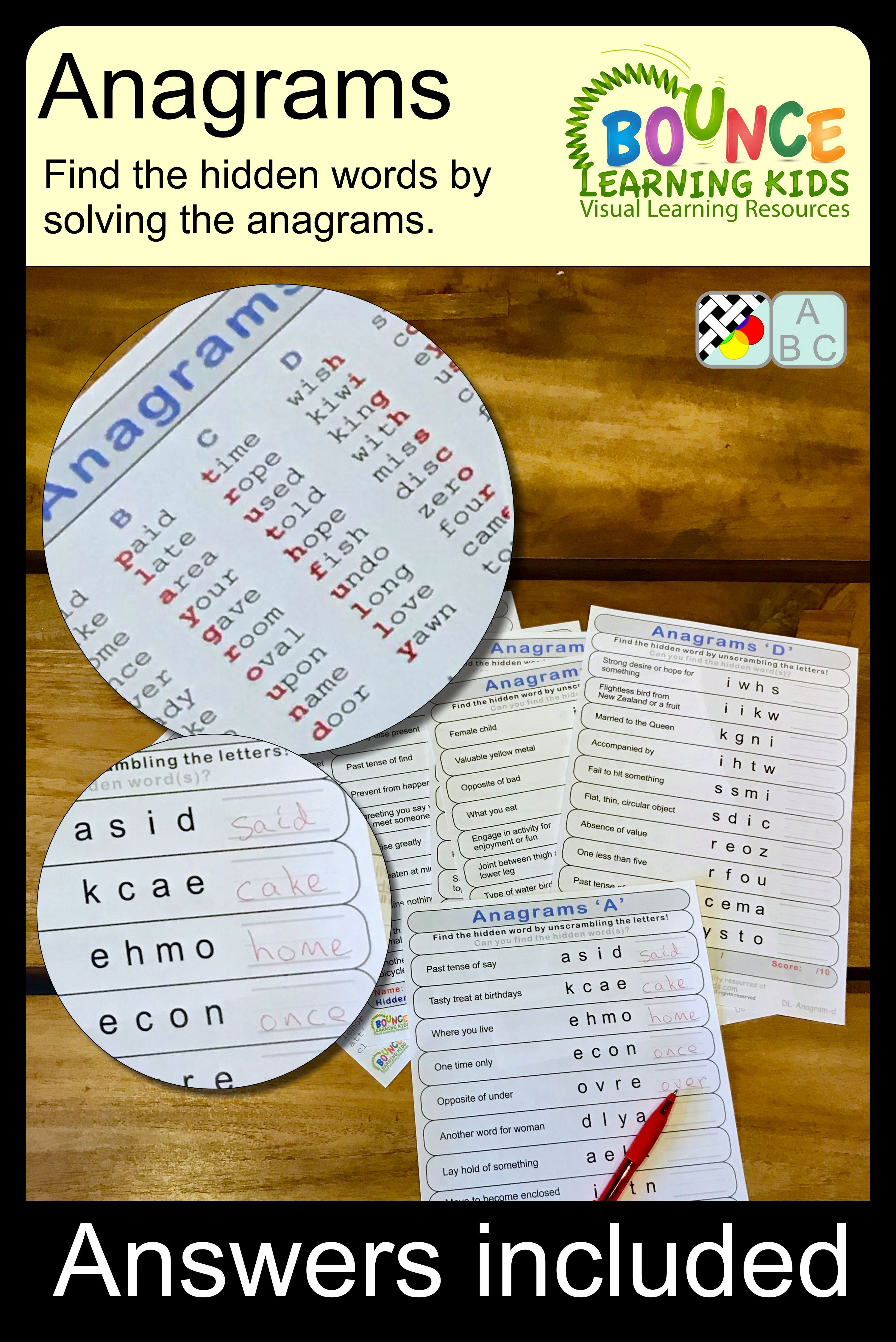 Anagrams 19 Literacy Sheets