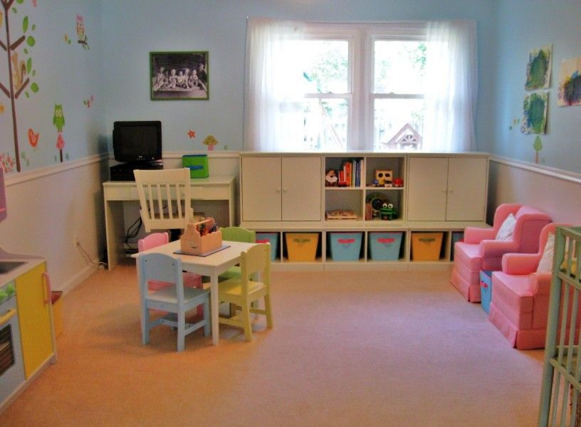 Kids Playroom Ideas Stimulating Children Creativity: Adorable Blue Wall  Interior Design Finished In Kids Playroom Ideas With White Furniture. Good Looking