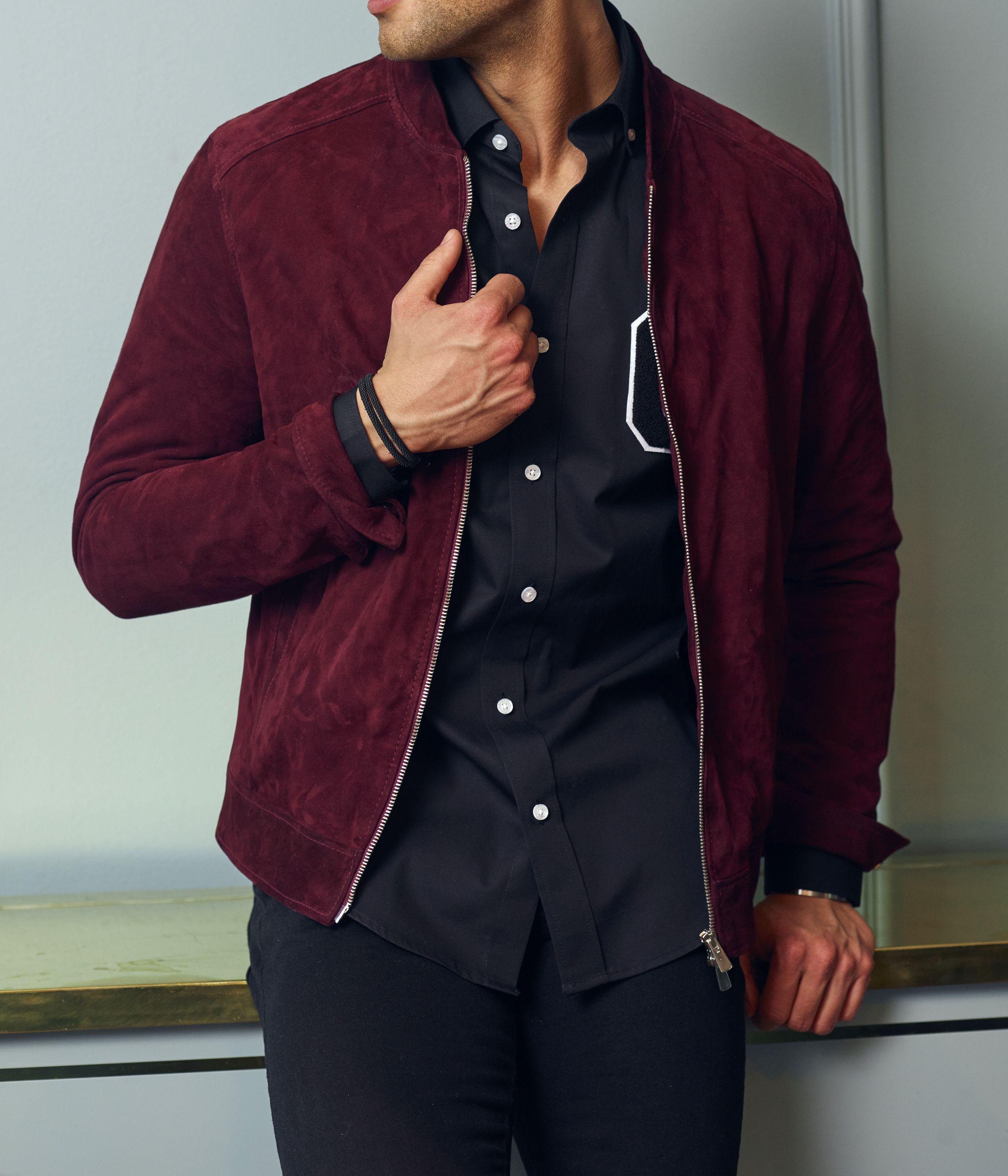 Grand Frank Red Jacket Men Suede Jacket Men Mens Outfit Inspiration