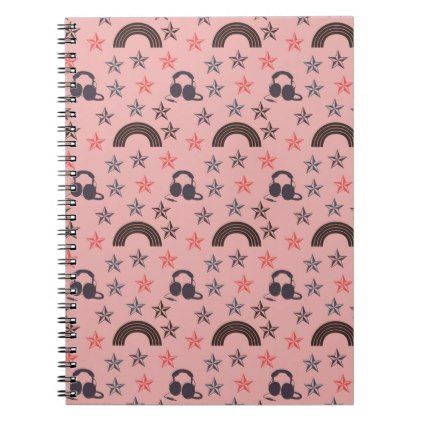 Music Stars Peach Notebook  Peach