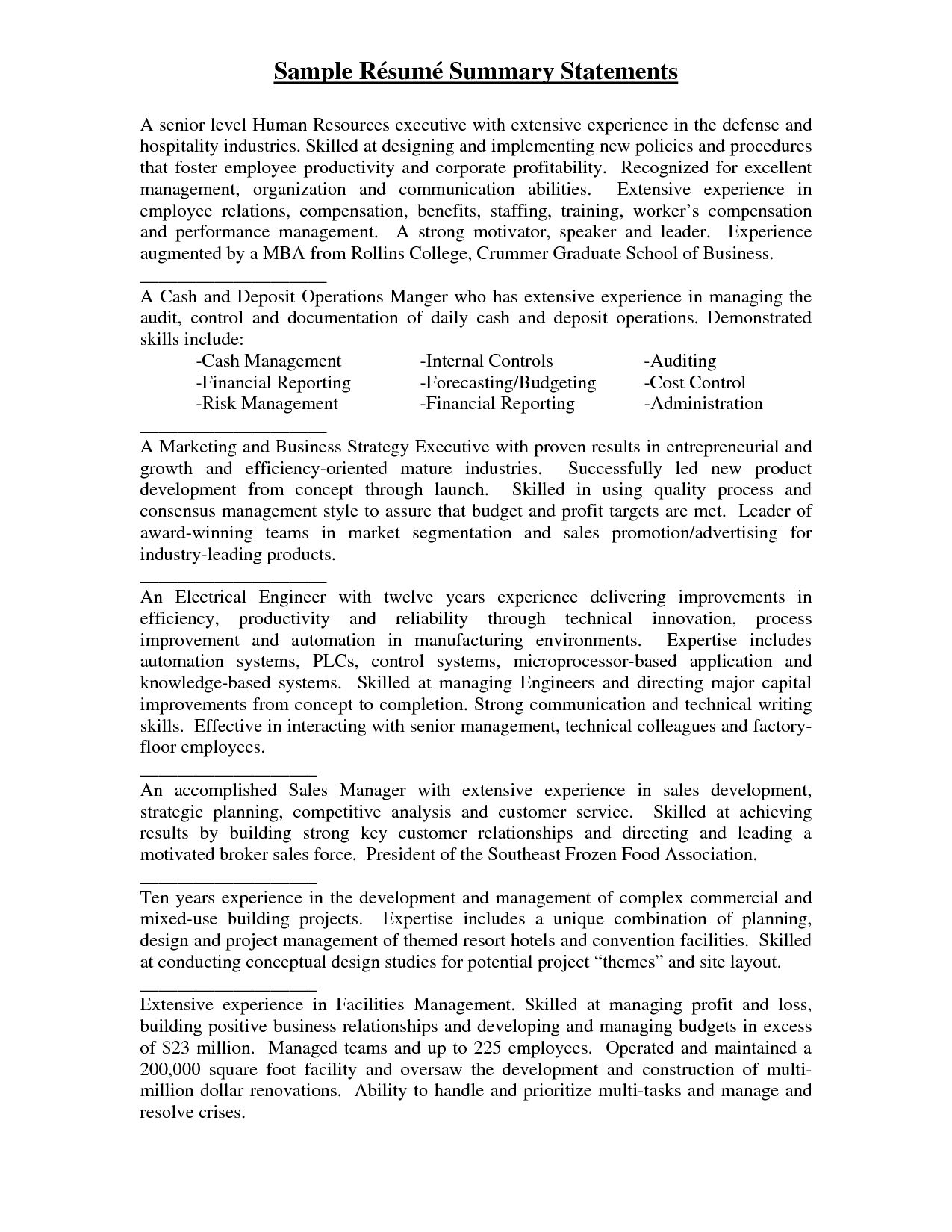sample resume summary statements statement examples professional writing