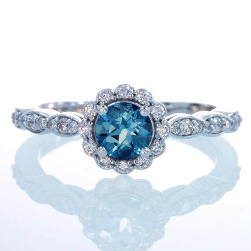 14K White Gold Diamond London Blue Topaz Floral Halo Engagement