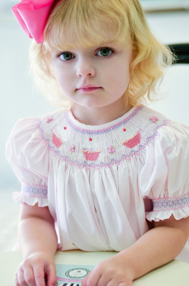 ecb77c4a9 Girls Birthday Party Pink Dress with Smocked Cupcakes Bishop Style--Carousel  Wear - 1