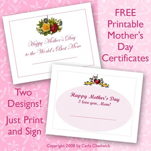 Gifts For Mother Free Printable Mothers Day Certificates Morhers Day Gifts Mother Gifts Mothers Day