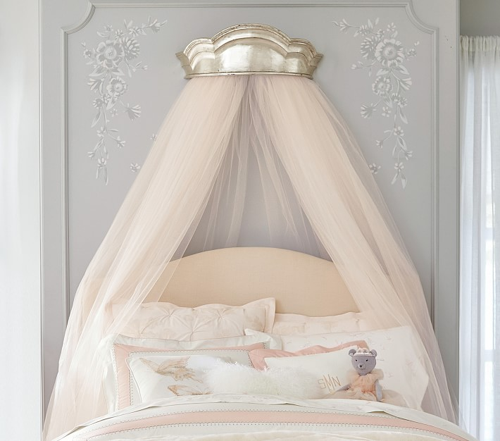 Monique Lhuillier Silver Cornice Canopy In 2020 Girl Room Pottery Barn Kids Bed Crown Canopy