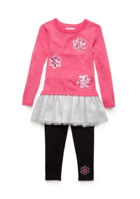 75789f2ddd7 Flapdoodles Dazzle Pink Lurex Stripe Daisy Sweater Dress Set Girls 4-6X  Long Sleeve Sweater