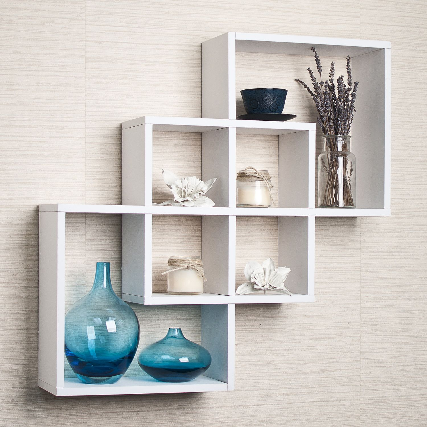 Captivating Marvellous Colorful Aluminum Wall Shelves Design With Mounted Astonishing  Three White Finish Wooden Floating Shelf On