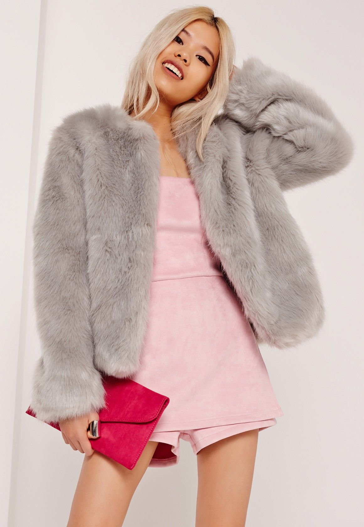 fa23614c329 Missguided - Collarless Short Faux Fur Coat Grey | My Style in 2019 ...