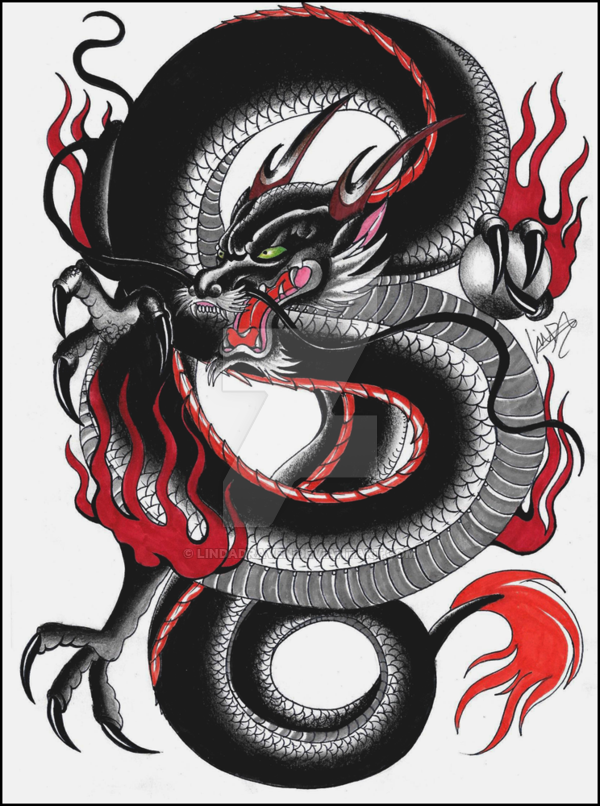 Black Japanese Dragon Tattoo Flash By Lindadraven On Deviantart Dragoes
