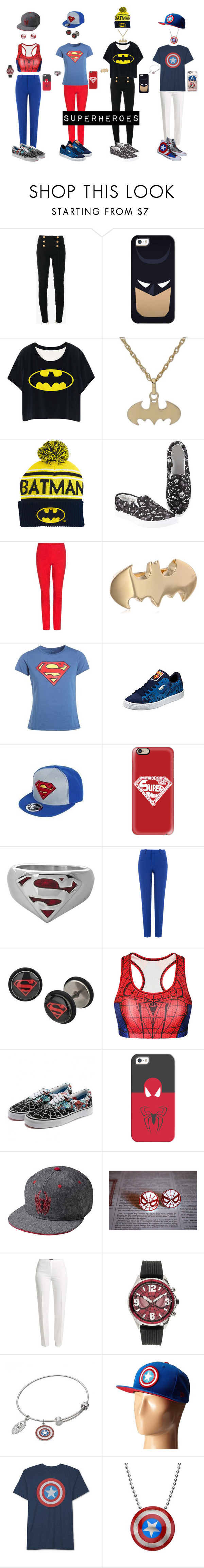 """""""Superheroes!"""" by jedezepo on Polyvore featuring Balmain, Casetify, STOULS, Noir Jewelry, Roland Mouret, Basler, New Era and JEM"""