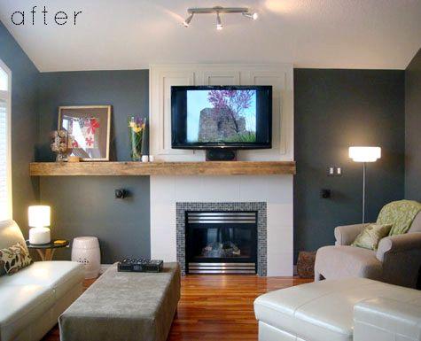 Antes y Después...Chimenea y TV | Sala | Pinterest | Tv, Salón y ...