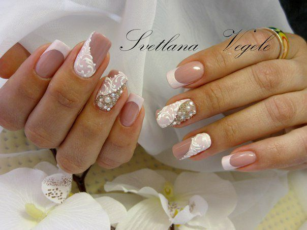 Bridal nails, Caviar nails, Creative nails, Dimension nails, French manicure ideas 2016, French manicure with pictures, French patterned manicure, Long french manicure